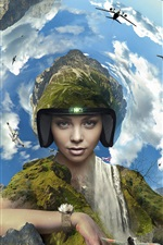 Girl, pilot, earth, mountains, planes, clouds, creative design