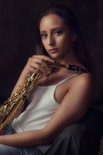 Preview iPhone wallpaper Girl, saxophone, music theme