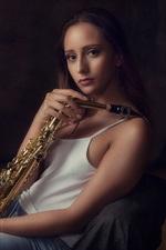 Girl, saxophone, music theme
