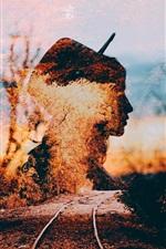 Silhueta de menina, trilhos, outono, imagem criativa