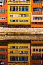Preview iPhone wallpaper Girona, Spain, houses, river, water reflection