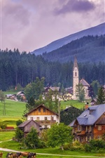 Gosau, Austria, Alps, church, houses, village, trees