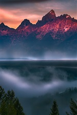 Preview iPhone wallpaper Grand Teton National Park, trees, river, fog, dusk, USA