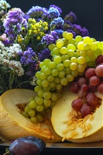 Preview iPhone wallpaper Grapes, melon, fruit, flowers