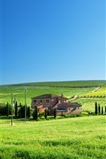 Preview iPhone wallpaper Green fields, house, trees, blue sky, spring