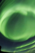 Preview iPhone wallpaper Green northern lights, people, silhouette, night