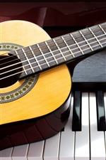 Preview iPhone wallpaper Guitar and piano, music theme