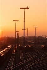 Hamburg, rail station, railroad, sunset, Germany