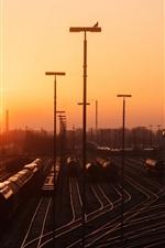 iPhone fondos de pantalla Hamburgo, estación de ferrocarril, ferrocarril, puesta del sol, Alemania