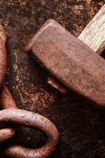 Preview iPhone wallpaper Hammer and chain, rusty
