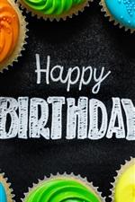 Feliz aniversario, cupcakes coloridos