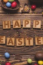 Preview iPhone wallpaper Happy Easter, colorful eggs, chocolate