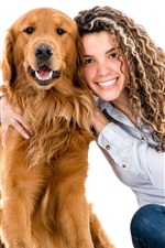 Happy girl and dog, hair style