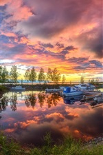 Preview iPhone wallpaper Harbour, evening, boats, trees, lake, summer