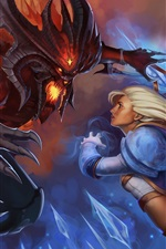 Preview iPhone wallpaper Heroes of the Storm, girl and monster, Warcraft