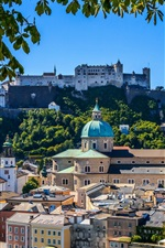 Preview iPhone wallpaper Hohensalzburg Castle, Salzburg, Cathedral, fortress, city, Austria
