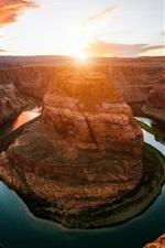 Подкова Бенд, река, каньон, закат, Колорадо, США