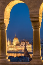 Preview iPhone wallpaper Hungary, Budapest, Danube river, Parliament, lights, river, arch
