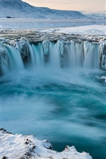 Preview iPhone wallpaper Iceland, Godafoss, waterfall, snow, winter, cold