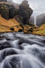 Preview iPhone wallpaper Iceland, stream, waterfall, mountains, clouds