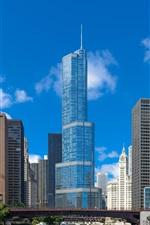 Preview iPhone wallpaper Illinois, chicago, skyscrapers, city, river, bridge, USA