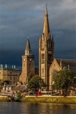 Inverness, igreja, escócia, rio, ponte, nuvens, tempestade