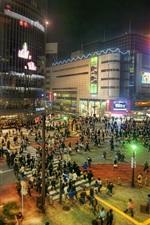 Japan, Tokyo, city at night, street, buildings, lights, people