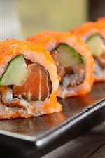 Preview iPhone wallpaper Japanese cuisine, caviar, sushi rolls