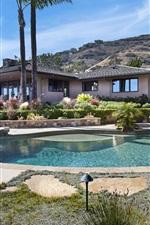 Preview iPhone wallpaper Laguna Beach, house, palm trees, pool, USA