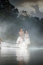 Preview iPhone wallpaper Lake, hut, two Asian girls, fog