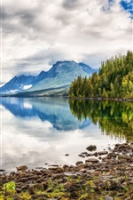Preview iPhone wallpaper Lake, mountains, water reflection, forest, clouds