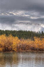 Preview iPhone wallpaper Lake, trees, clouds, autumn
