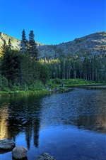 Lake, trees, mountains, water reflection