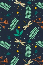 Preview iPhone wallpaper Leaves and dragonflies, texture background