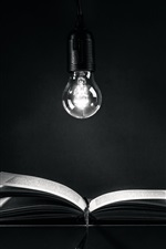 Preview iPhone wallpaper Light bulb, book, darkness