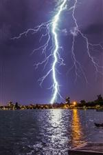 Preview iPhone wallpaper Lightning, storm, city, lake, lights, night, pier