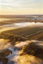 Lithuania, morning, fog, fields, trees, sunrise