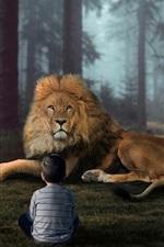 iPhone обои Маленький мальчик и лев в лесу