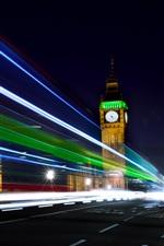 Preview iPhone wallpaper London, England, night, Big Ben, road, light lines