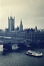 London, city, bridge, river, retro style