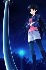 Preview iPhone wallpaper Long hair anime girl, night, lights, sword