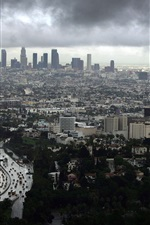 Los Angeles, cityscape, buildings, clouds, dusk, USA