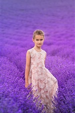 Preview iPhone wallpaper Lovely little girl, lavender flowers field