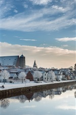 Preview iPhone wallpaper Lower Saxony, Germany, winter, snow, river, houses