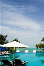 Malaysia, Langkawi, resort, sun loungers, pool, sea, palm trees