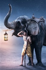 Preview iPhone wallpaper Man and elephant, lantern, creative picture