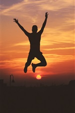 Preview iPhone wallpaper Man jumping, silhouette, sky, sunset