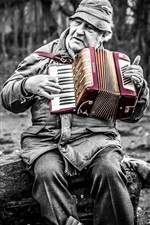 Preview iPhone wallpaper Man play accordion, music, box, retro style
