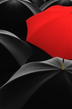 Preview iPhone wallpaper Many black umbrellas, one red