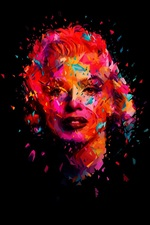 Preview iPhone wallpaper Marilyn Monroe, art picture, black background